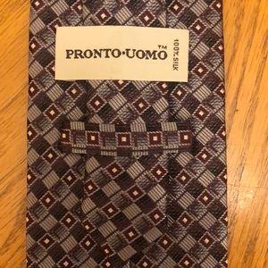 Pronto Uomo Silk Tie Gray Brown Geometric Design